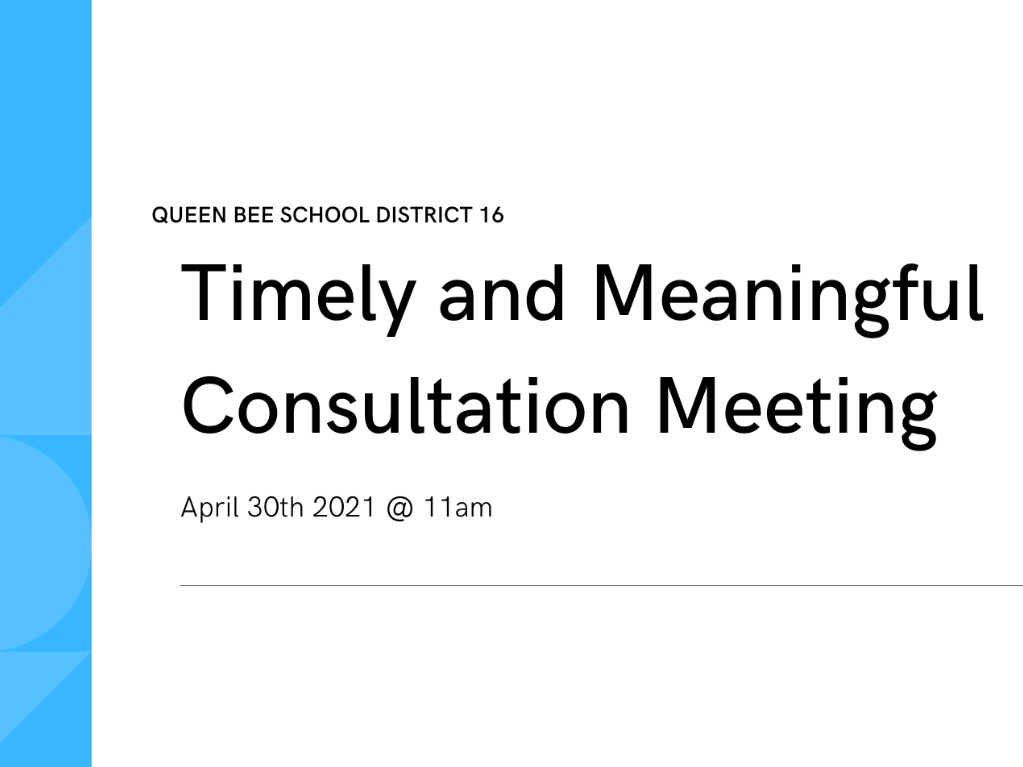 Timely and meaningful consultation meeting